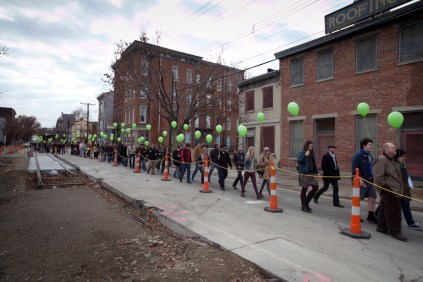 Approximately 1,000 Streetcar Supporters 'Line The Line' on 12/1/2013