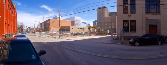 The corner of 12th and Elm was previously home to the Drop Inn Center. The non-historic building was demolished and will be replaced by a new theatre for the Cincinnati Shakespeare Company.