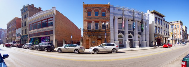 The Ensemble Theatre Cincinnati will soon start a renovation of its buildings on the 1100 block of Vine Street, which will include the construction of a new building in the gap near the center of this photo.