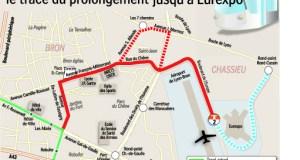 Tramway T2 à Bron, le tracé du prolongement jusqu'à Eurexpo