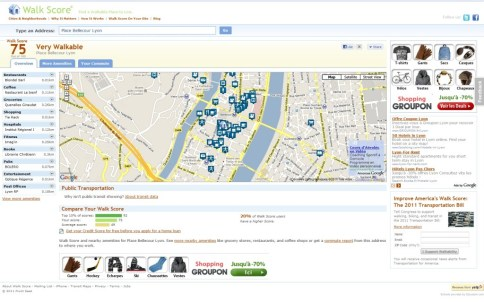 WalkScore Bellecour Lyon Calculez la Walkability de votre quartier