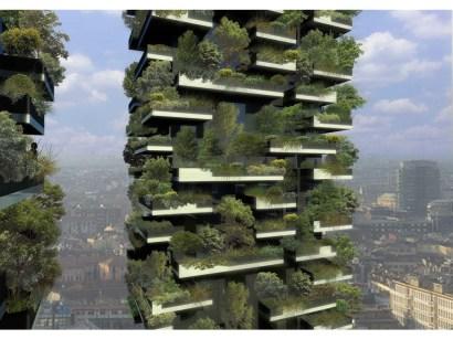 Vue d'une tour du Bosco Verticale.
