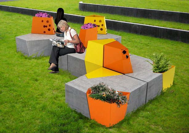Life 39 s a bench of concrete urban gardens for Cinder block seating area