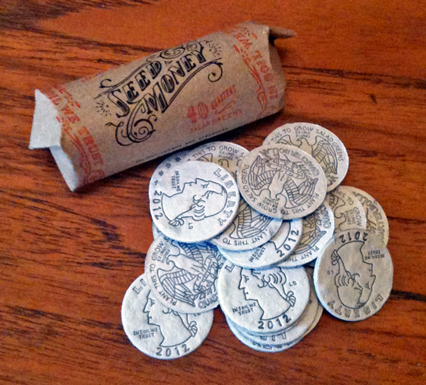 "Seed Money. Hand-illustrated and letterpress printed ""coins"" embedded with seeds."