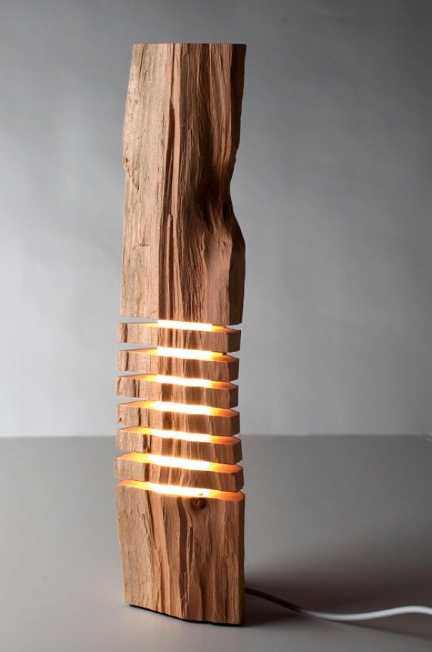 Minimalist light sculpture in wood.