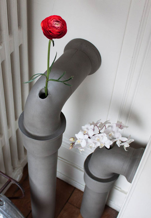 Beton Vase concrete plumbing pipe flower vase attaches to wall