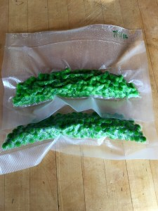 Fresh peas ready for the freezer