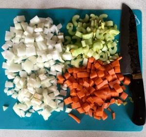 Mire poix - 50% onion, 25% each carrot and celery