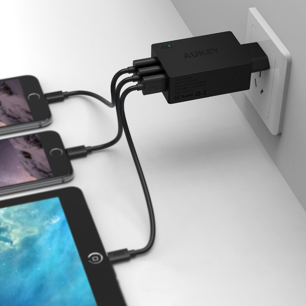 Aukey-Quick-Charge-2-0-42W-3-Ports-Wall-Travel-Charger-2-Port-5V-2-4A