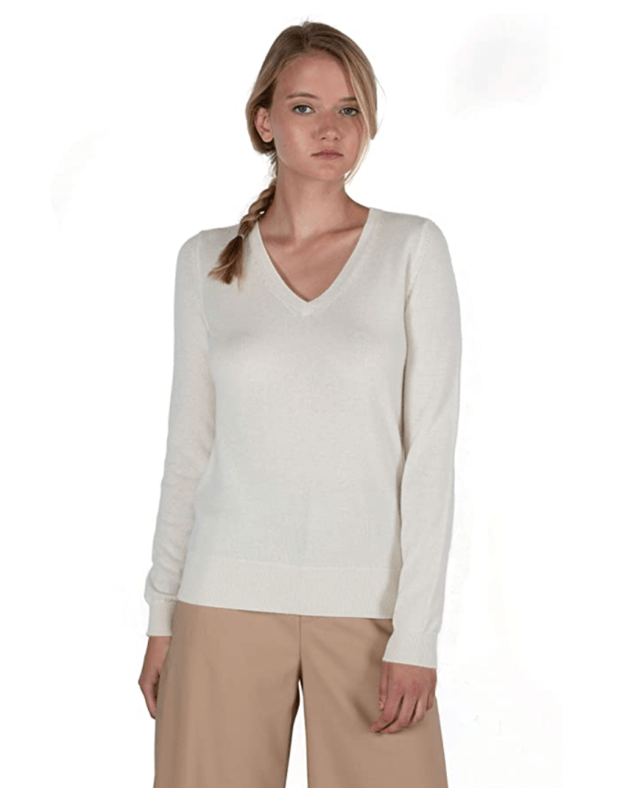 JENNIE LIU Women's 100% Pure Cashmere Long Sleeve Pullover