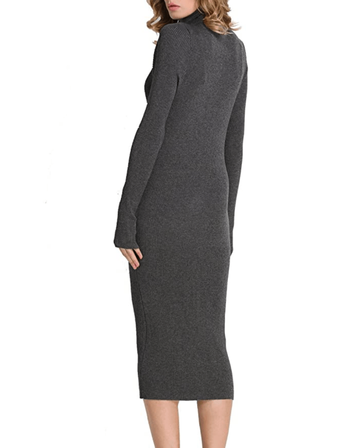 Rocorose Women's Turtleneck Ribbed Long Sleeve Knitted Sweater Dress