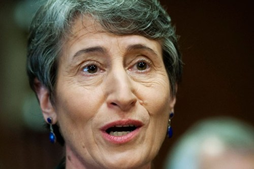 Interior Secretary Sally Jewell testifies on Capitol Hill in Washington. The Interior Department is proposing that companies disclose some chemicals used in hydraulic fracturing operations on federal lands.