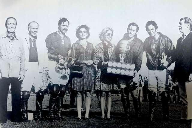 1973 U.S. Open Polo Championship® winners Oak Brook. (L to R) Paul Butler, Hugo Dalmar Jr., Bill Atkinson, Mrs. Dupont, Jorie Ford Butler, Charles Smith, Robert D. Beveridge, William T. Ylvisaker.