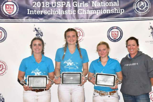 Runner's Up Central Coast Polo Club (L to R) Cassidy Wood, Petra Teixiera, Taylor Olcott, Coach Megan Judge.