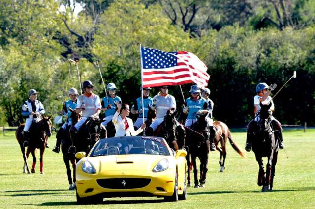 Flag presentation at USPA Board of Governors match at Oak Brook Polo Club. ©Judith Coleman.