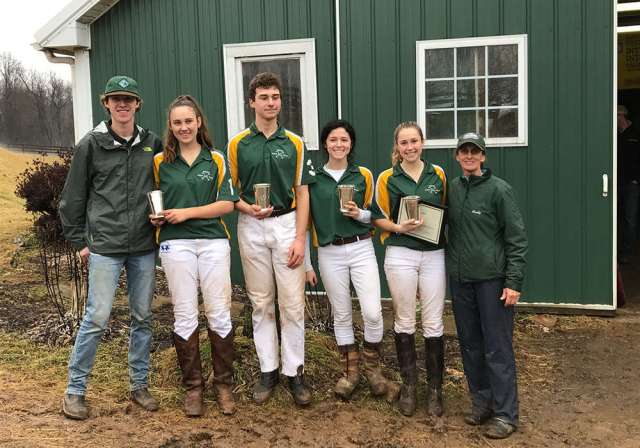 (L to R) Ben Sullivan, Sarah Lynch, Pelham Hardie, Sofia Longenecker, Louisa Huber, and Coach Cindy Halle.
