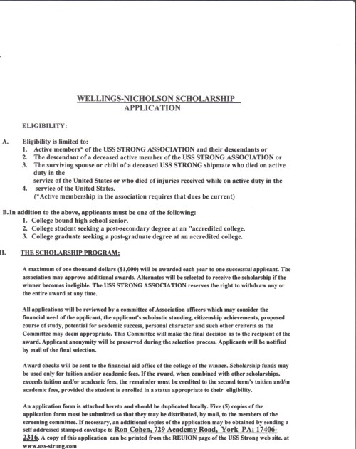 College Scholarship Application Template | Sample Templates