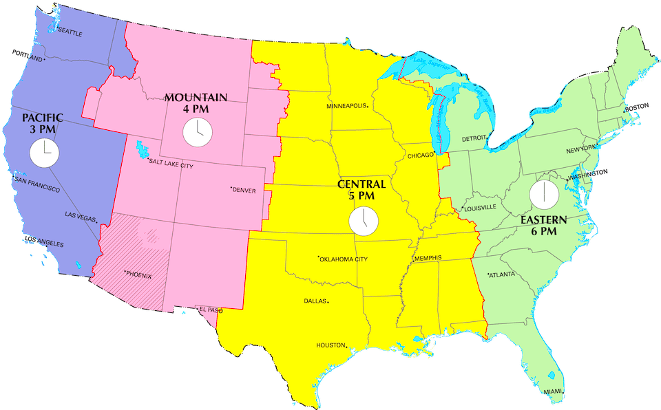 United States Time Zone Map Time Zone BoundariesTime Zone Map Of - Us time zone map with times