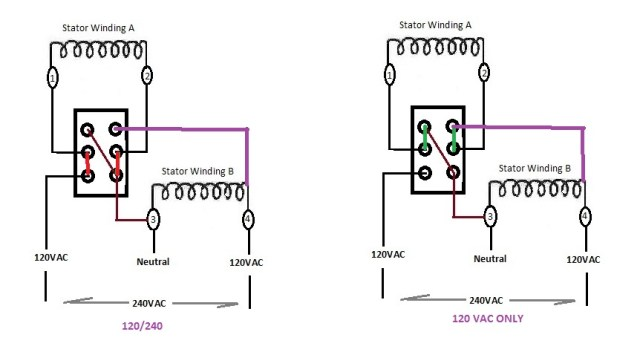 Using a DPDT to selector 120VAC only or 120/240 operation