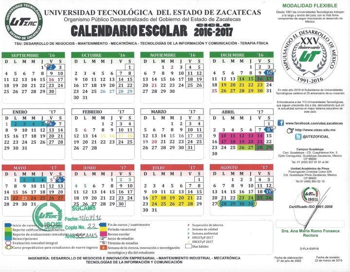 Calendario escolar 2016-2017 Modalidad flexible
