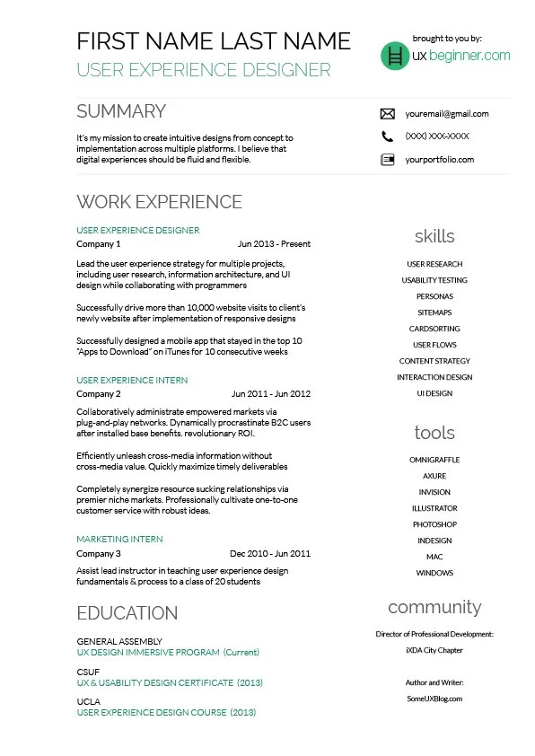 complete guide to ux resumes and a free template ux beginner