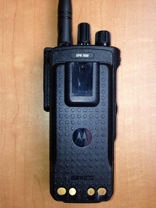 Motorola, MOTOTRBO, XPR7550, XPR 7550, portable, radio, amateur radio, ham radio, digital mobile radio, DMR, digital, battery, mobile, rear