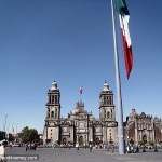 Cathedral in Mexico City with large flag