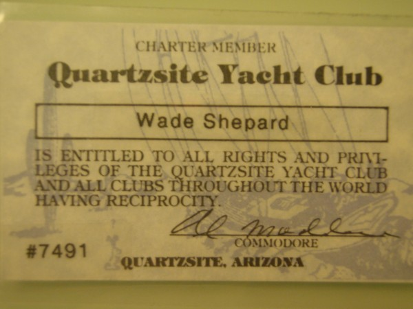 Quartzsite Yacht Club Card