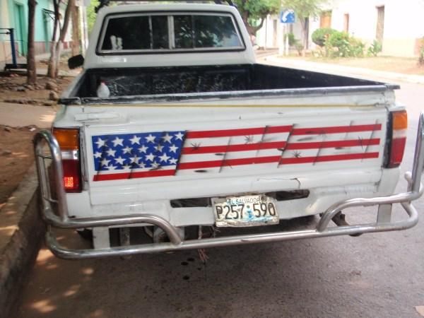 usa flag on truck
