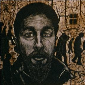 4' x 4' woodblock print of Wade by Justin Catania