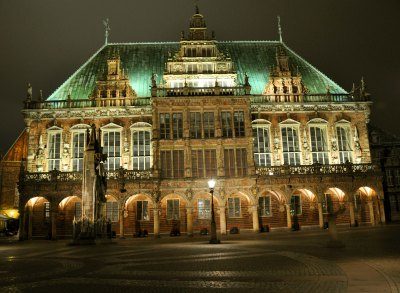 Bremen's Rathaus, or city hall, dates back more than 500 years and is a UNESCO World Heritage Site. Photo by Katherine Rodeghier, c 2012