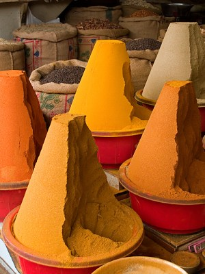 Spices piled high in the bazaar in Peshawar