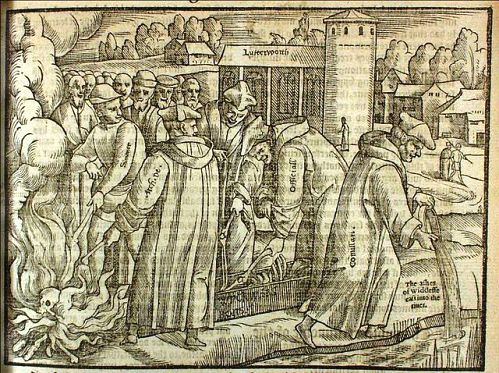 Burning John Wycliffe's bones in an engraving in Foxe's Book of Martyrs