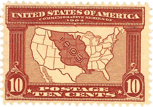 Louisiana Purchase Commemorative 1904 Issue By US Post Office (US Post Office) [Public domain], via Wikimedia Commons
