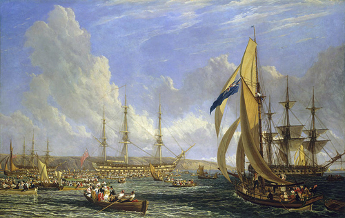 HMS Bellerophon and Napoleon John James Chalon [Public domain or Public domain], via Wikimedia Commons
