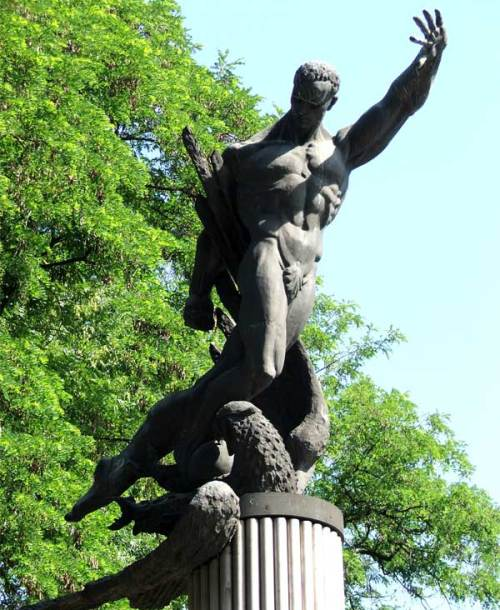 Monument to FC Start - an heroic player crushes a German eagle