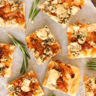 Blue Cheese and Caramelized Onion Squares