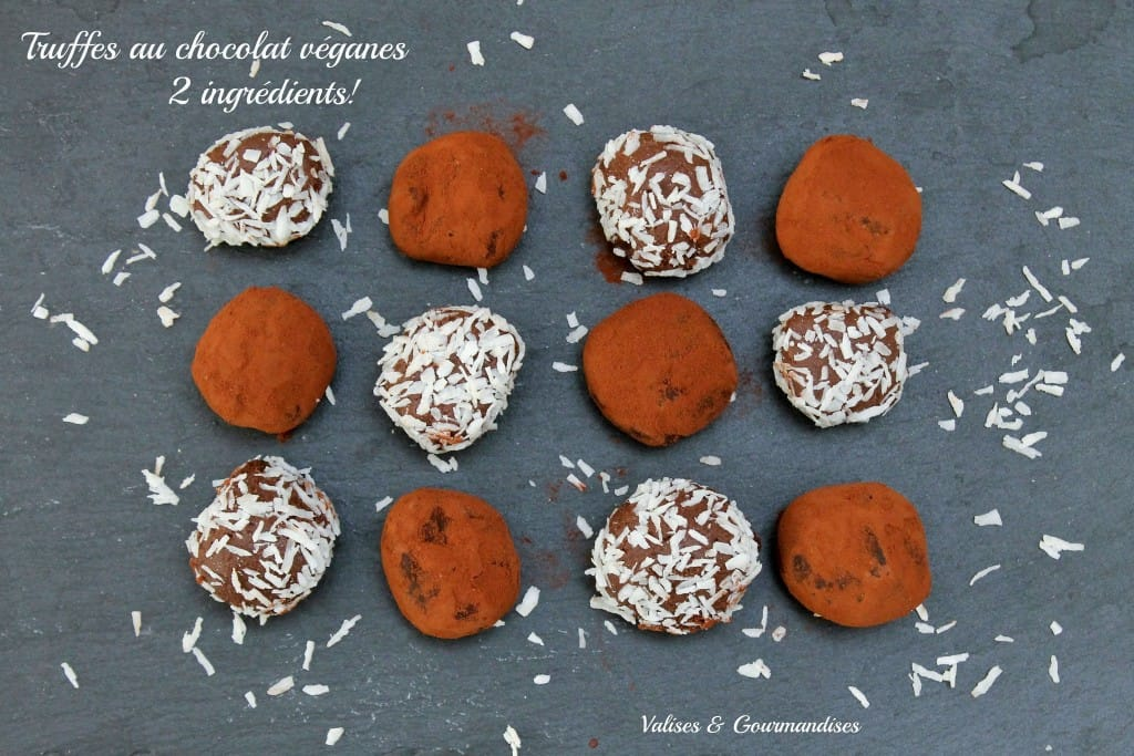 truffes au chocolat végétaliennes - 2 ingrédients