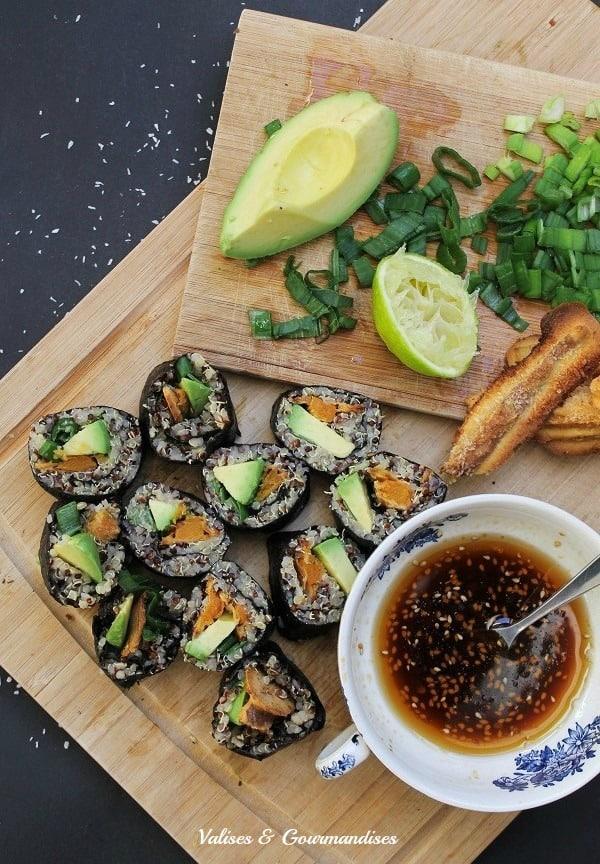 Vegan sweet potato quinoa sushi