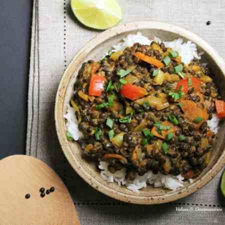 Express vegan lentil curry
