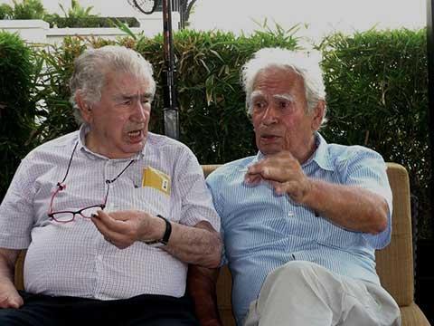 Los poetas Antonio Gamoneda y Rodolfo Hinostroza.
