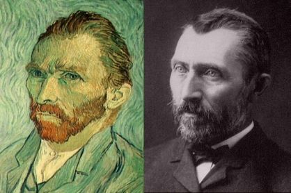 El pintor Vincent van Gogh. (Izq.) retrato y (der.) fotografía)