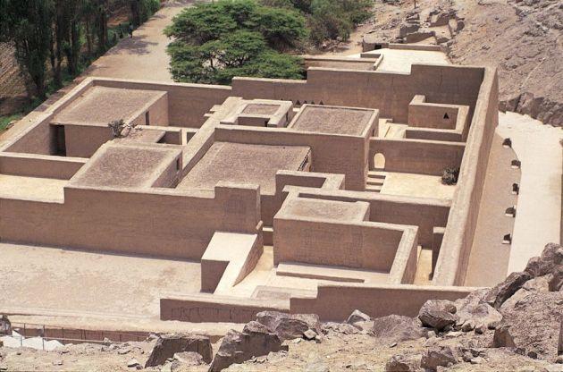 """Vista del Centro Ceremonial Arqueológico """"Puruchuco"""". Lima-Perú."""