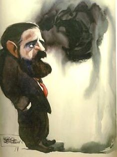 Caricatura del poeta José Ruiz Rosas por Luis Palao