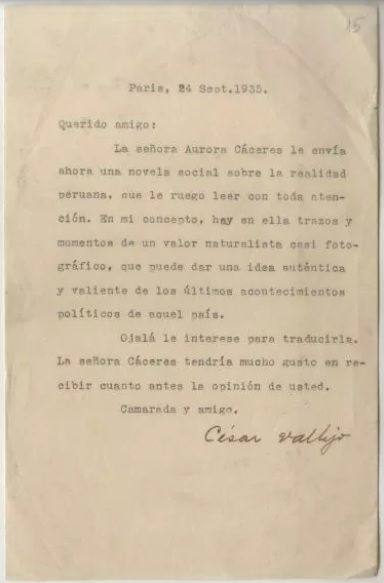 Última carta de Vallejo a Kelin, fechada el 24 de septiembre de 1935. Archivo de los autores.