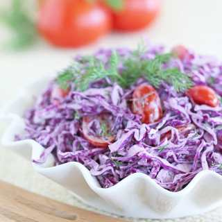 Purple Cabbage Tomato Salad