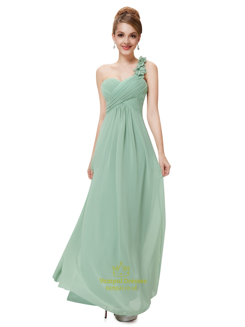 State Color Sage Green One Shoulder Chiffon Bridesmaid Dresses Shoulder Sage Bridesmaid Dresses Sage Bridesmaid Dresses Length wedding dress Sage Bridesmaid Dresses