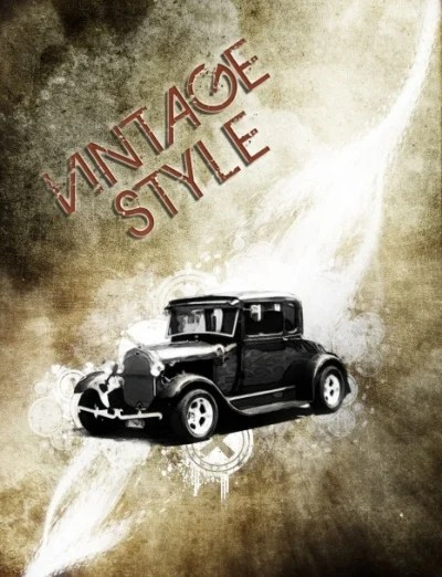 Design a Vintage Car Poster with Grunge Texture, Font and Brush Pack
