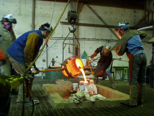 Pouring Molten Bronze