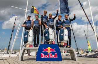 Foiling Generation is seen during a training session in Knokke-Heist, Belgium on August 20, 2016. // Jasper van Staveren / Red Bull Content Pool  // P-20160820-00599 // Usage for editorial use only // Please go to www.redbullcontentpool.com for further information. //